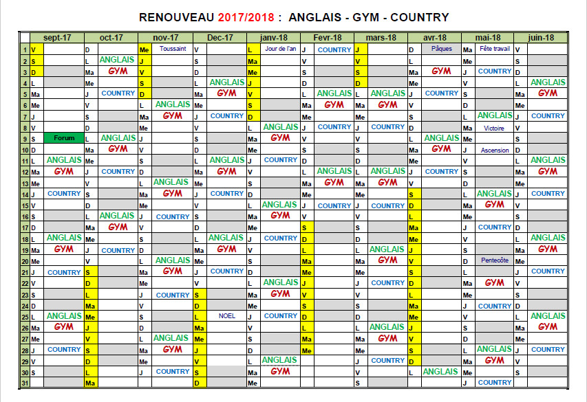 calendrier anglais-gym-country 2017-2018