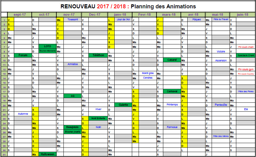 calendrier animations 2017-2018